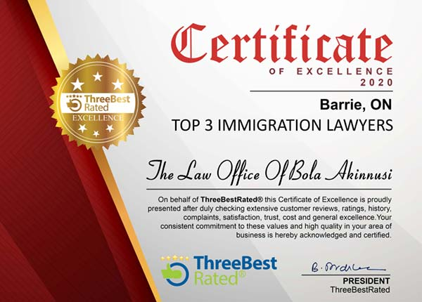 Certificate of Excellence for Top 3 Immigration Lawyers in Barrie 2020